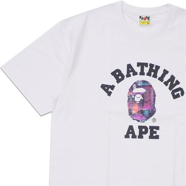 新品 エイプ A BATHING APE 20SS NEON TOKYO COLLEGE TEE Tシャツ WHITE ホワイト 白 メンズ 2020SS 20SS 新作 1G30110036