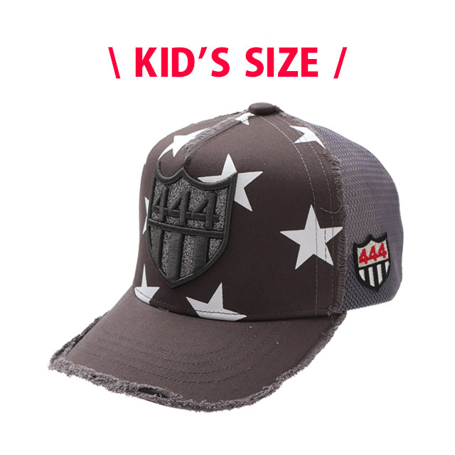 キッズサイズ 新品 ヨシノリコタケ YOSHINORI KOTAKE 444LOGO STAR MESH CAP キャップ CHARCOAL チャコール KID'S 新作