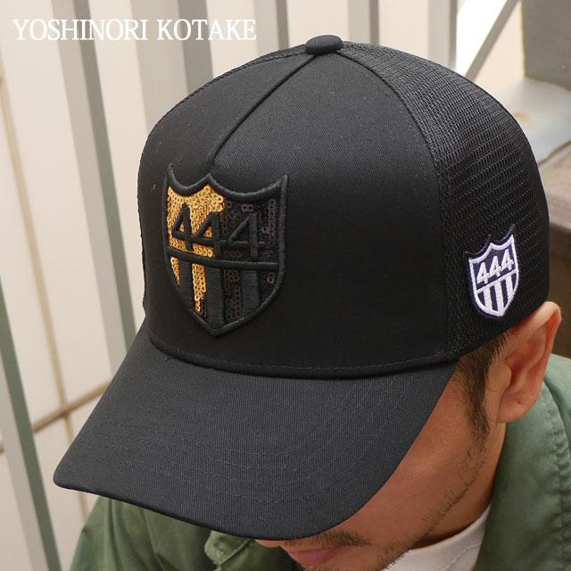 KOTAKE 新品 BLACK BARNEYS MESH ヨシノリコタケ NEWYORK バーニーズ SPANGLE CAP 444LOGO 新作 ニューヨーク GOLD YOSHINORI x