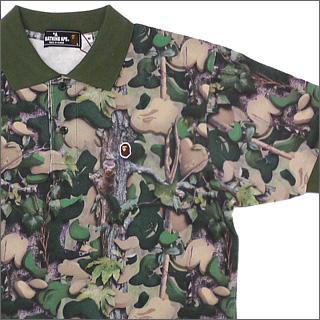 A BATHING APE(에이프) VILLAGE CAMO 반소매 폴로 셔츠[비렛지카모]GREEN CAMO 218-000190-045[1760-112-002]-