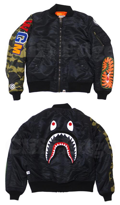 A BATHING APE(에이프) SHARK MA-1 재킷 BLACK 230-000413-041[1770-141-024]-