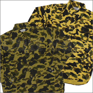 59731688f A BATHING APE (APE) 1 st CAMO FLANNEL long sleeve shirt 216-000490-045-