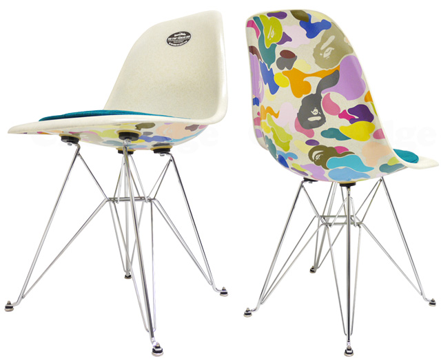 A BATHING APE (エイプ) x CASE STUDY SHOP BAPE CAMO SIDE CHAIR WHITExMULTI 299-000281-010 +