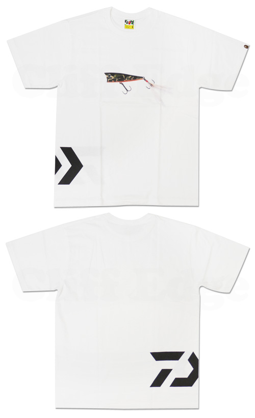 A FISHING APE(아핏싱에이프) A BATHING APE(에이프) x DAIWA(다이와) POPPER T셔츠 WHITE 200-003823-040 x