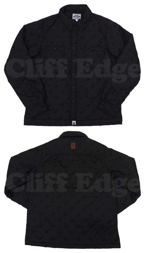 A BATHING APE (エイプ) STA QUILT 작업 긴 소매 셔츠 BLACK 216-000713-041 [1860-140-014]-