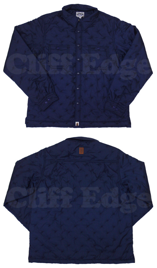A BATHING APE (APE) STA QUILT work long sleeve shirt NAVY 216-000713-067 [1860-140-014]-