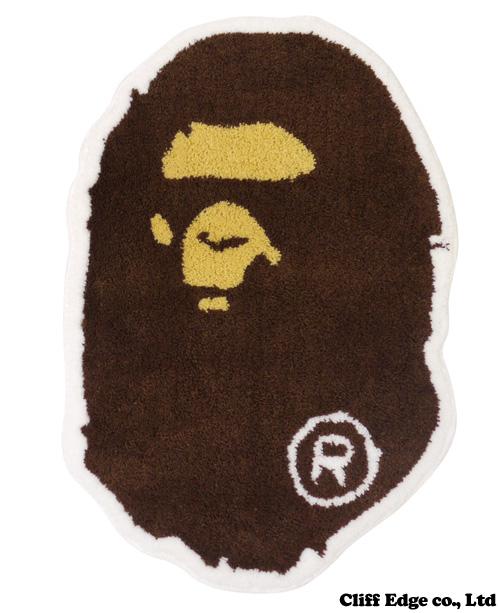 A BATHING APE APE HEAD rag mat BROWN 290-002077-016-