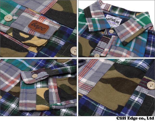 efd539597 A BATHING APE 1 ST CAMO FLANNEL PATCHWORK long sleeve t-shirt. GREEN CAMO