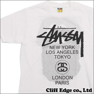 A BATHING APE x STUSSY BAPE WORLD TOUR TEE (T셔츠) WHITE 200-005679-030(1073-110-947) x