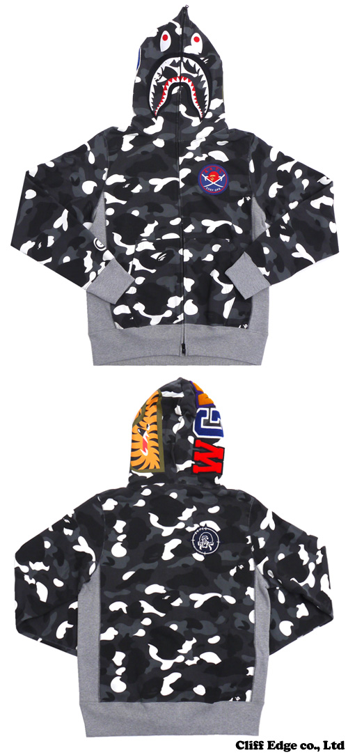 A BATHING APE CITY CAMO SHARK FULL ZIP HOODIE (샤크)(스웨트 파커) BLACK 212-000875-041(1 A30-115-016)-
