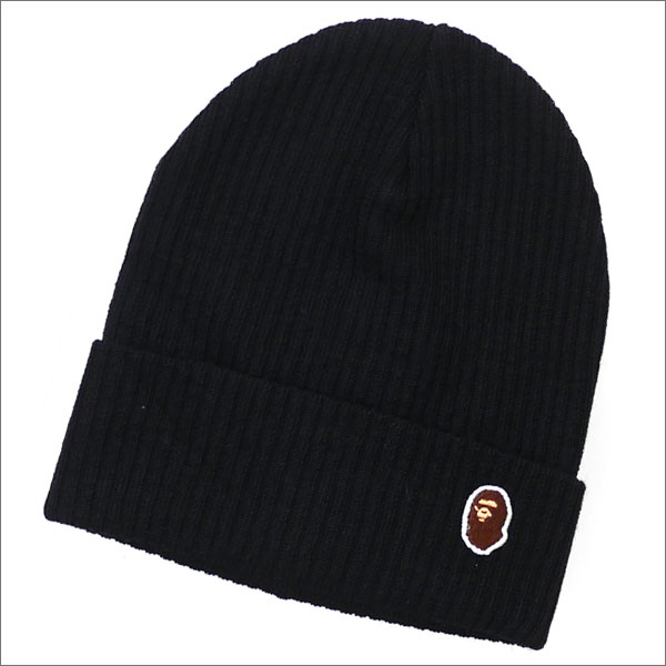 A BATHING APE (エイプ) ONE POINT KNIT CAP (ビーニー)(ニットキャップ) BLACK 1D75-180-003 254-000299-011x【新品】