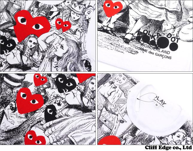圆点仙境纪念 des 住仙境红色心 T 恤 WHITExRED 200-005780-023 x