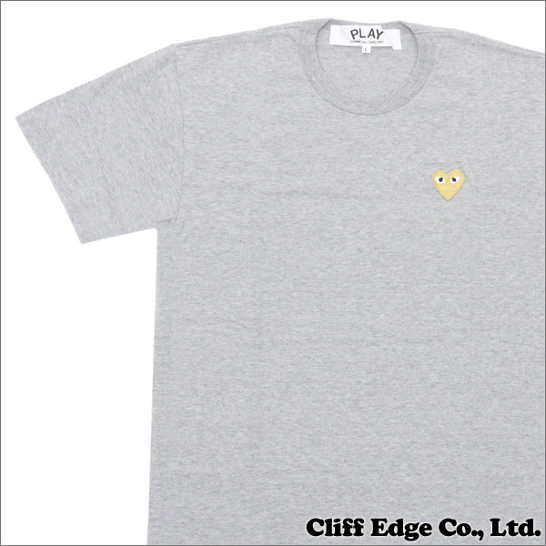 PLAY COMME des GARCONS プレイコムデギャルソン GOLD HEART ONE POINT TEE Tシャツ GRAYxGOLD 200006748052 【新品】
