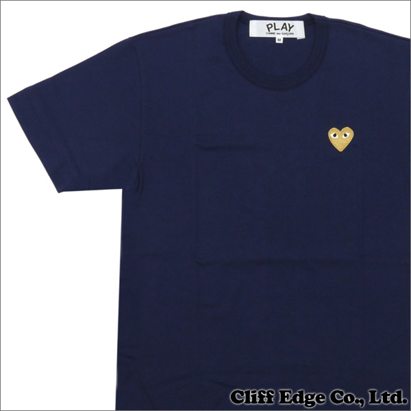 PLAY COMME des GARCONS(プレイコムデギャルソン) GOLD HEART ONE POINT TEE (Tシャツ)NAVYxGOLD 200-006748-047x【新品】