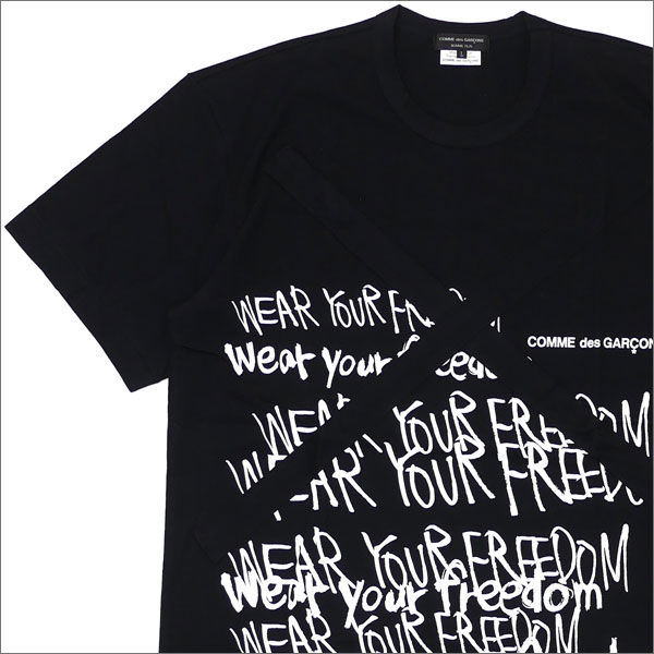 15b7ffa0 コムデギャルソンオムプリュス COMME des GARCONS HOMME PLUS WEAR YOUR FREEDOM TEE T-shirt  BLACK 200007623051
