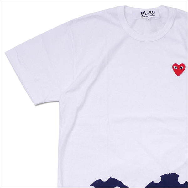 PLAY COMME des GARCONS(プレイ コムデギャルソン) MEN'S DOT HEM HEART TEE (Tシャツ) WHITE 200-007706-050x【新品】