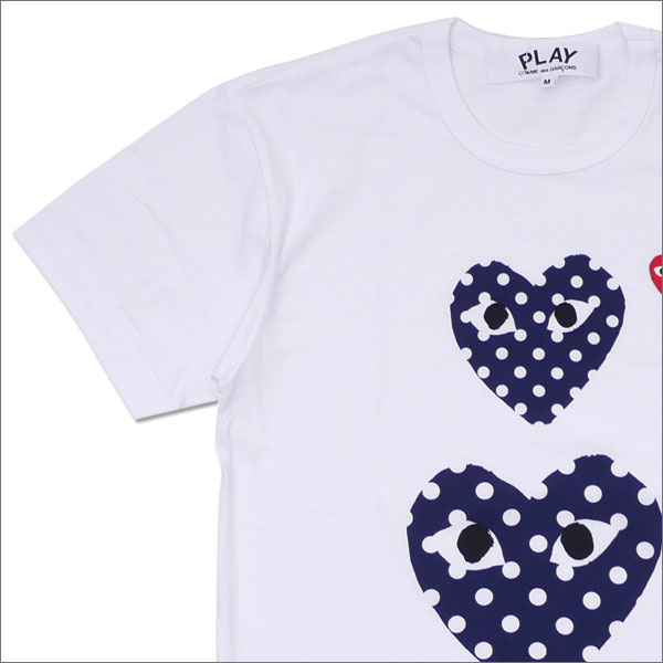 PLAY COMME des GARCONS(プレイ コムデギャルソン) MEN'S DOT TWO HEART TEE (Tシャツ) WHITE 200-007702-040x【新品】
