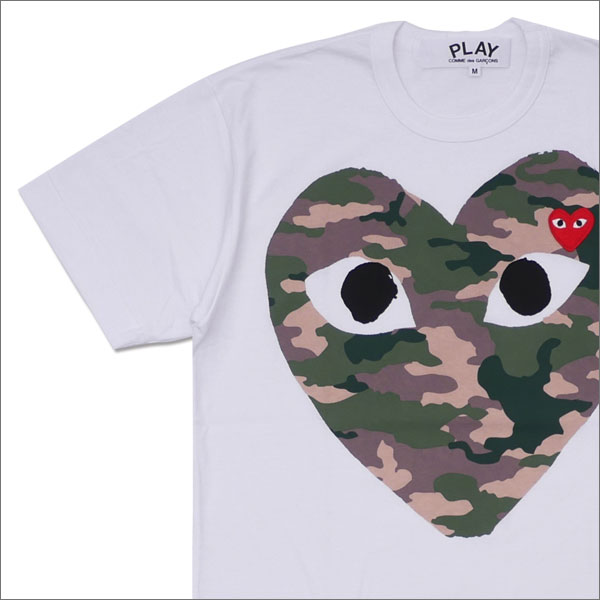 プレイ コムデギャルソン PLAY COMME des GARCONS MEN'S CAMO HEART TEE Tシャツ WHITE 200007705040 【新品】