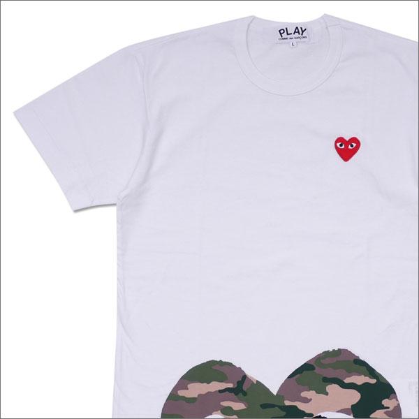 PLAY COMME des GARCONS(プレイ コムデギャルソン) MEN'S CAMO HEM HEART TEE (Tシャツ) WHITE 200-007707-050x【新品】