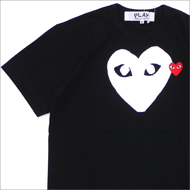 PLAY COMME des GARCONS(プレイ コムデギャルソン) WHITE HEART RED WAPPEN TEE (Tシャツ) BLACK 200-007734-041x【新品】