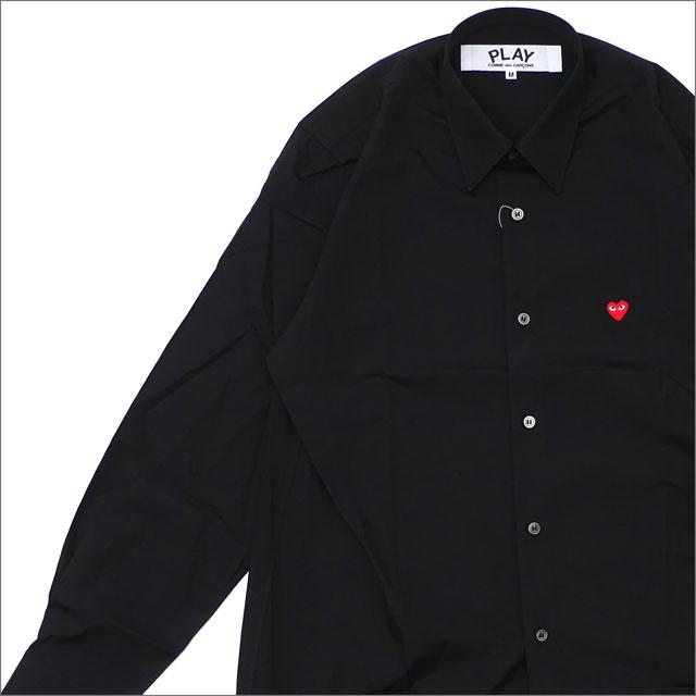 PLAY COMME des GARCONS(プレイ コムデギャルソン) MEN'S MINI RED HEART L/S SHIRT (長袖シャツ) BLACK 216-001526-041x【新品】