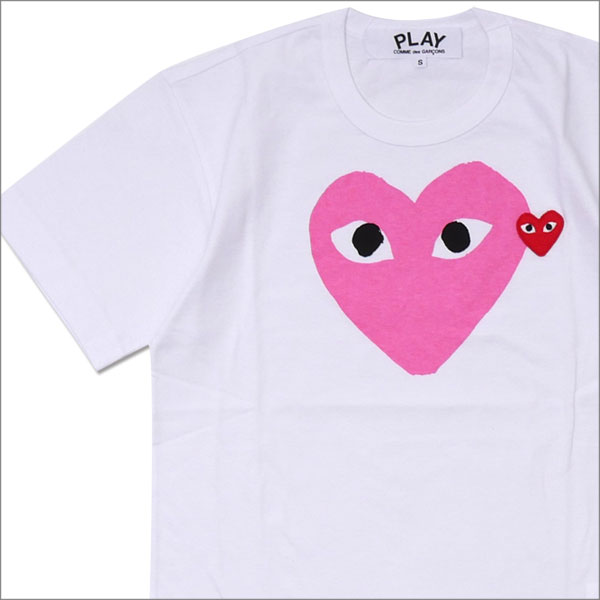 PLAY COMME des GARCONS(プレイ コムデギャルソン) MEN'S COLOR HEART PRINT TEE (Tシャツ) WHITExPINK 200-007761-033x【新品】