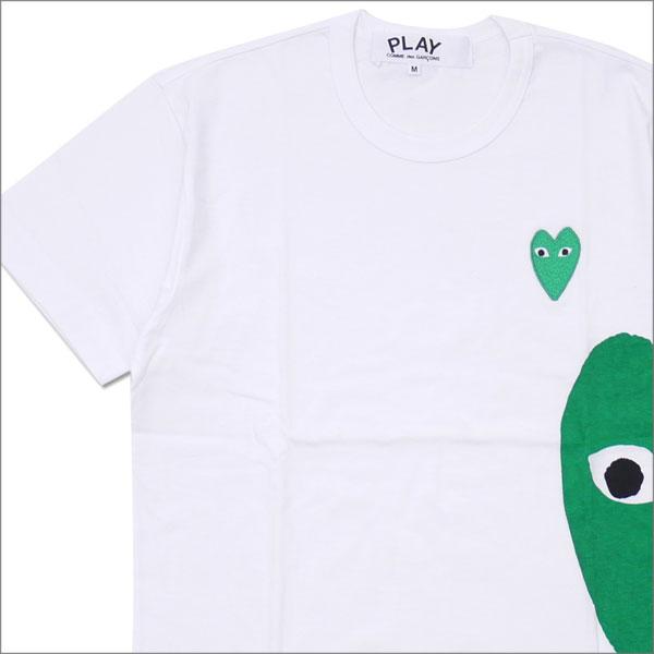 [次回のお買い物で使える500円OFFクーポン配布中!! 4/30(火)まで!!] プレイ コムデギャルソン PLAY COMME des GARCONS MEN'S GREEN HEART SIDE PRINT TEE Tシャツ WHITE 200007758040 【新品】