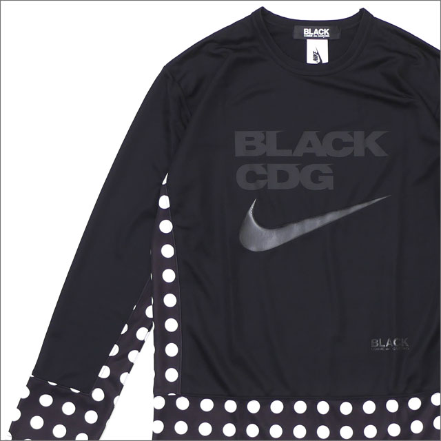 BLACK COMME des GARCONS(ブラック コムデギャルソン) x NIKE(ナイキ) DOT SWOOSH L/S TEE (長袖Tシャツ) BLACK 202-000958-051-【新品】