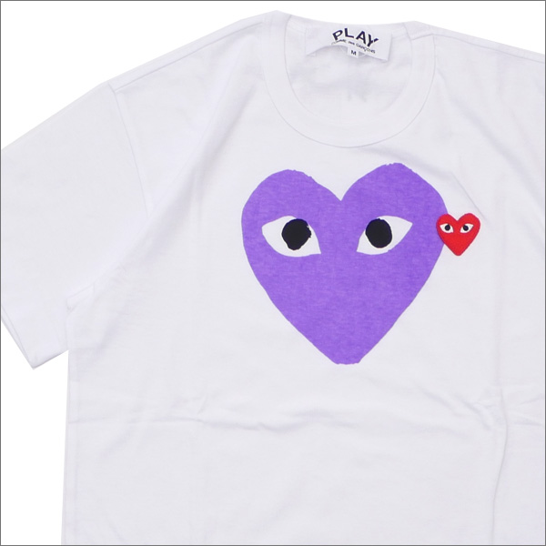 PLAY COMME des GARCONS(プレイ コムデギャルソン) MEN'S COLOR HEART PRINT TEE (Tシャツ) WHITExPURPLE 200-007761-049x【新品】
