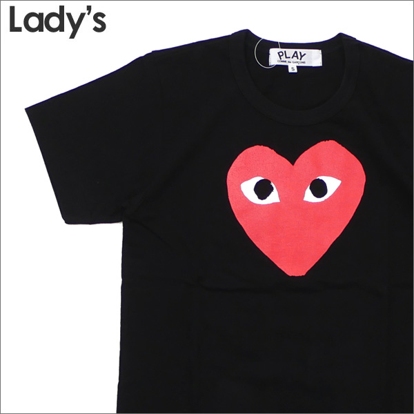 PLAY COMME des GARCONS(プレイ コムデギャルソン) LADY'S RED HEART PRINT TEE (Tシャツ) BLACK 200-007868-131x【新品】