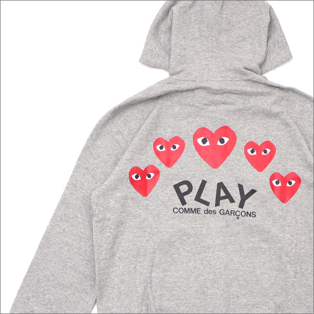 [次回のお買い物で使える500円OFFクーポン配布中!! 4/30(火)まで!!] プレイ コムデギャルソン PLAY COMME des GARCONS MEN'S FIVE RED HEART HOODIE スウェットパーカー GRAY 212001024042 【新品】