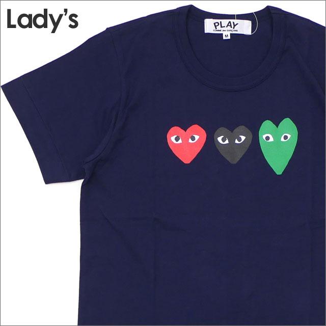 [次回のお買い物で使える500円OFFクーポン配布中!! 4/30(火)まで!!] プレイ コムデギャルソン PLAY COMME des GARCONS LADY'S 3COLOR HEART TEE Tシャツ NAVY 200007903147 【新品】