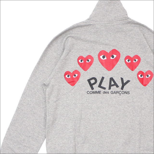 PLAY COMME des GARCONS(プレイ コムデギャルソン) MEN'S FIVE RED HEART ZIP SWEAT (スウェット) GRAY 213-000042-032+【新品】