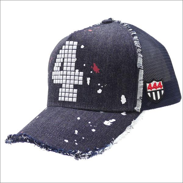 YOSHINORI KOTAKE(ヨシノリコタケ) 4 LOGO STUDS DRIP DENIM MESH CAP (キャップ) INDIGO 251-001122-017x【新品】