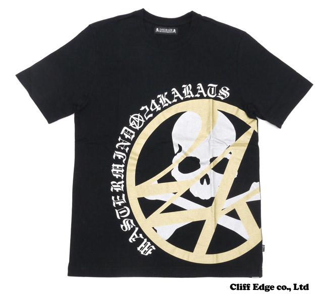 mastermind JAPAN x 24 karats 써클 로고 T셔츠 BLACKxGOLD 100-011720-051+