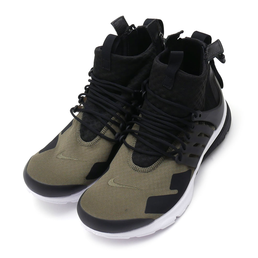 NIKE x ACRONYM AIR PRESTO MID/ACRONYM (sneakers) (shoes) MED OLIVE/BLACK-DUST 844672-200 291 - 002131 - 045 +