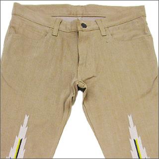NUMBER (N) INE number nine Ortega embroidered denim pants MAROON
