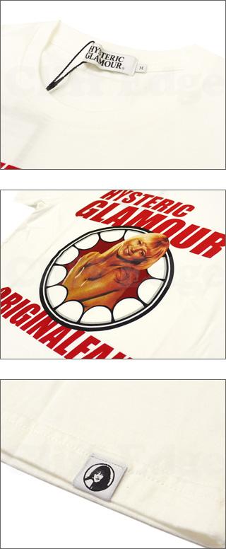 HYSTERIC GLAMOUR(히스테릭글래머) x Original Fake(오리지날 페이크) 잇자국 써클 T셔츠 WHITE 200-003790-040 x
