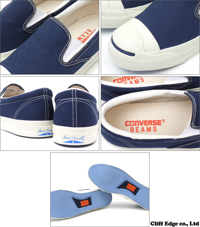 BEAMS x CONVERSE JACK PURCELL SLIP-ON [잔크파세르스립폰] NAVY 1 C1101 294-000046-267 x