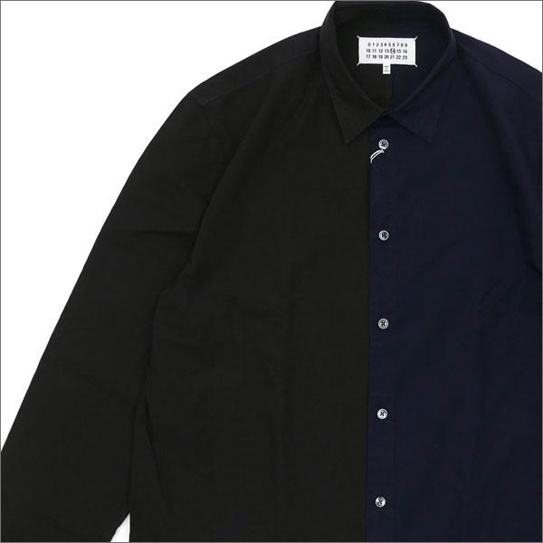 Maison Margiela メゾン・マルジェラ Asymmetric Shirt 長袖シャツ NAVYxBLACK 216001477727 【新品】