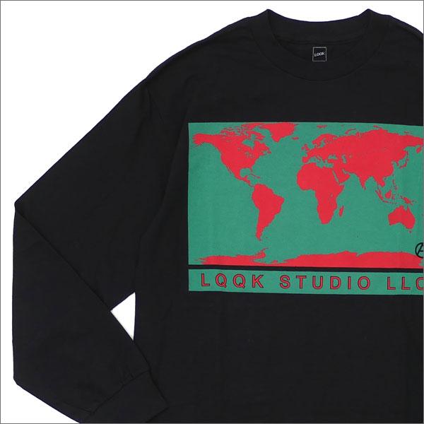 LQQK STUDIO(ルックスタジオ) WORLD MAP L/S T-SHIRT (長袖Tシャツ) BLACK 420-000088-041+【新品】