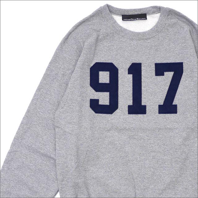 【期間限定特別価格!!】 917(ナインワンセブン)(Nine One Seven) Varsity Applique Crew Neck Sweatshirt GRAY 209-000506-132+【新品】
