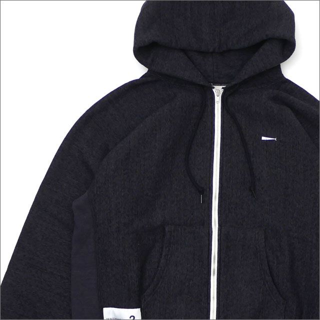DESCENDANT(ディセンダント) PE/ZIPUP HOODED SWEATSHIRT (スウェットパーカー) 181ATDS-CSM21 BLACK 212-001018-521x【新品】