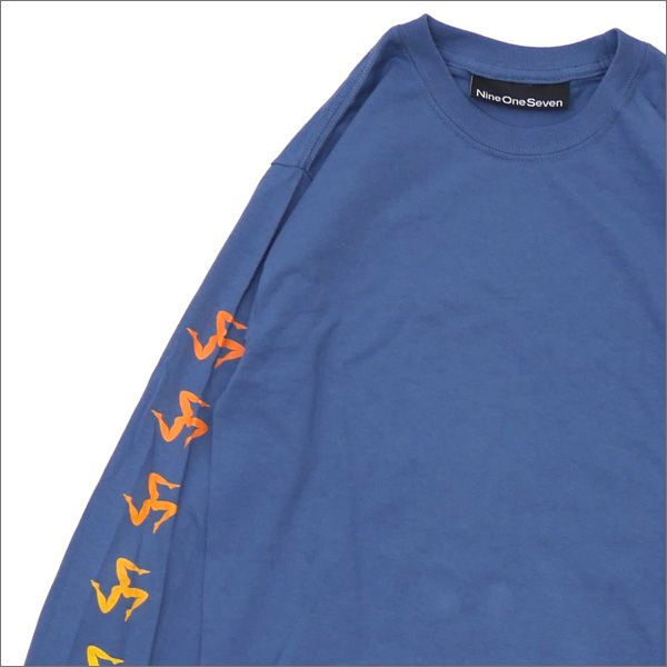 917(ナインワンセブン)(Nine One Seven) Gradient Legs Long Sleeve Tee (長袖Tシャツ) BLUE 418-000283-034+【新品】