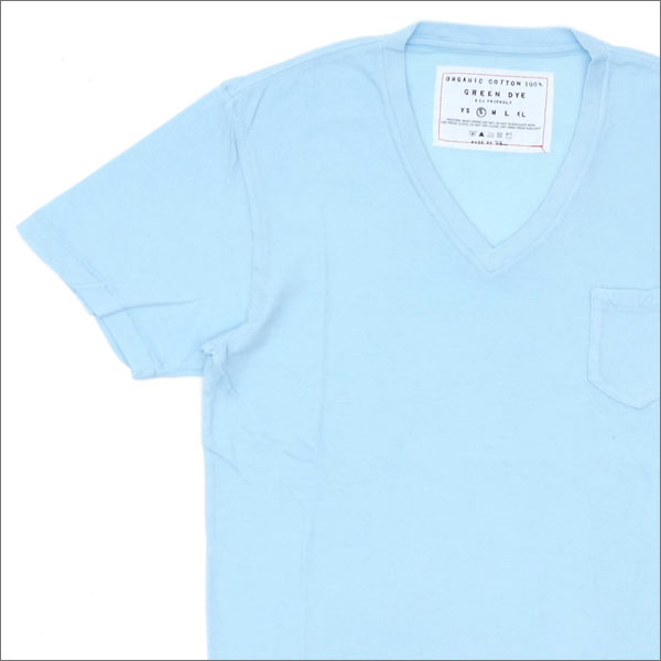 Ron Herman(ロンハーマン) GREEN DYE POCKET V-NECK TEE (Tシャツ) LT.BLUE 200-007114-034x【新品】