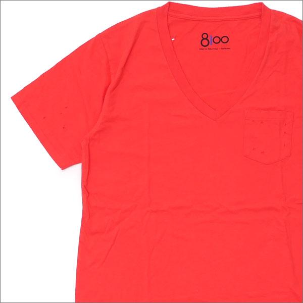 Ron Herman(ロンハーマン) 8100 (エイティーワンハンドレッド) DISTER V NECK TEE (Tシャツ) RED 200-007483-043x【新品】