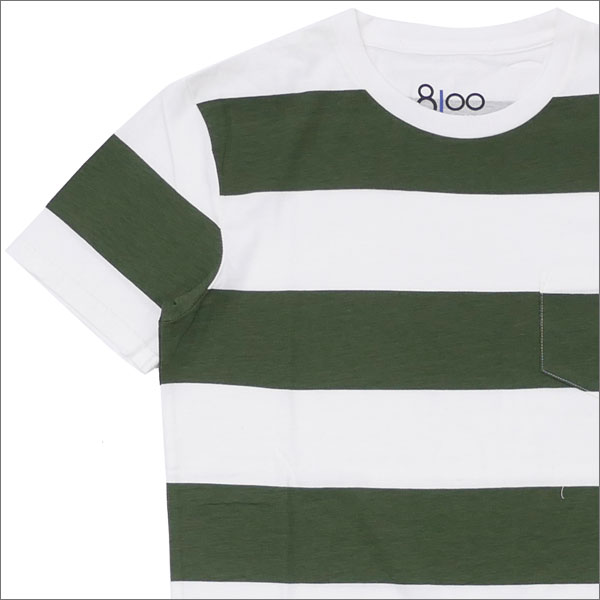 Ron Herman(ロンハーマン) 8100 (エイティーワンハンドレッド) DISTER BORDER TEE (Tシャツ) OLIVE 200-007685-025-【新品】