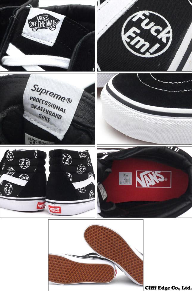 SUPREME (슈 프림) x VANS (빵) Fuck Em SK8-Hi BLACK VN-0ZA0G3P (스케이트 하이퍼) (운동 화) (신발) 291-001652-291 +