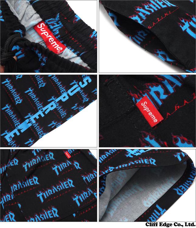 Cliff Edge  SUPREME x Thrasher 244-000635-031 BLACK Skate Short ... 921805267