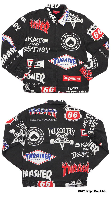 SUPREME (슈 프림) x Thrasher (공포) Work Jacket (재킷) BLACK 230-000888-141 +
